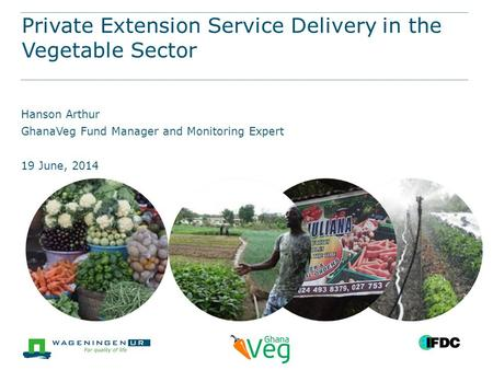 Private Extension Service Delivery in the Vegetable Sector Hanson Arthur GhanaVeg Fund Manager and Monitoring Expert 19 June, 2014.