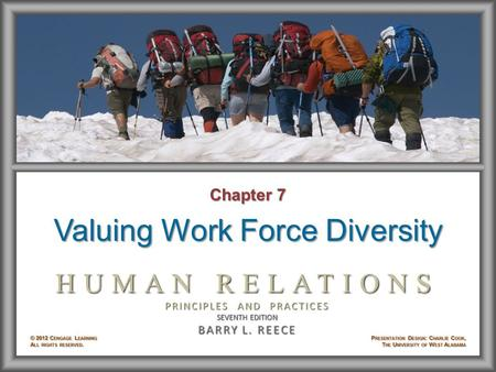 Chapter 7 Valuing Work Force Diversity. Learning Objectives After studying Chapter 7, you will be able to: © 2012 Cengage Learning. All rights reserved.7–2.