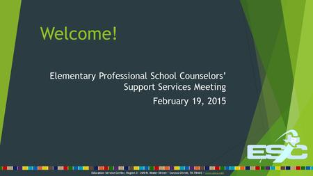 Welcome! Elementary Professional School Counselors' Support Services Meeting February 19, 2015 Education Service Center, Region 2 - 209 N. Water Street.