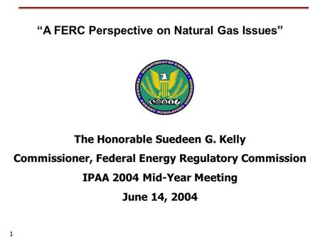 "1 The Honorable Suedeen G. Kelly Commissioner, Federal Energy Regulatory Commission IPAA 2004 Mid-Year Meeting June 14, 2004 ""A FERC Perspective on Natural."