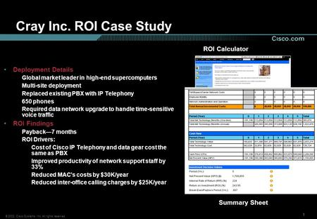 © 2002, Cisco Systems, Inc. All rights reserved. 111 Cray Inc. ROI Case Study Deployment Details Global market leader in high-end supercomputers Multi-site.