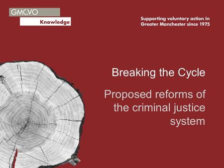 Breaking the Cycle Proposed reforms of the criminal justice system.