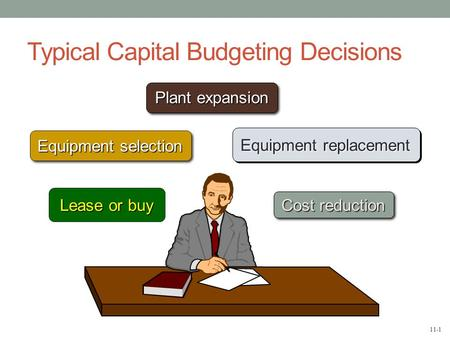 11-1 Typical Capital Budgeting Decisions Plant expansion Equipment selection Equipment replacement Lease or buy Cost reduction.
