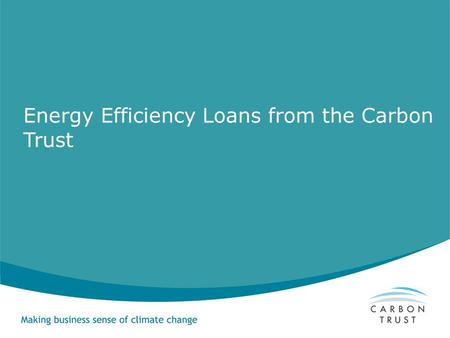 Energy Efficiency Loans from the Carbon Trust. The Carbon Trust is about making business sense of climate change Set up by Government in 2001 as part.