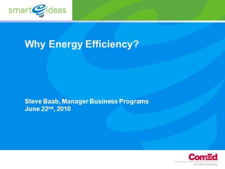 Why Energy Efficiency? Steve Baab, Manager Business Programs June 22 nd, 2010.