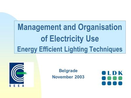Management and Organisation of Electricity Use Energy Efficient Lighting Techniques Belgrade November 2003.