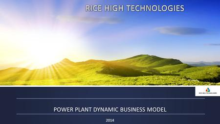 2014 POWER PLANT DYNAMIC BUSINESS MODEL. COMPANY'S PRODUCT 2 Innovation power plant for processing of rice husk PILOT PROJECT STARTED In stanitsa Khlomskaya.