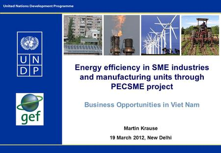Energy efficiency in SME industries and manufacturing units through PECSME project Business Opportunities in Viet Nam Martin Krause 19 March 2012, New.