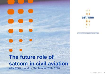 EN 3 29/04/2015 © Astrium 1 The future role of satcom in civil aviation ATN 2002, London, September 25th, 2002.