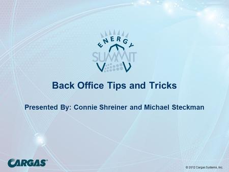 © 2012 Cargas Systems, Inc. Back Office Tips and Tricks Presented By: Connie Shreiner and Michael Steckman.
