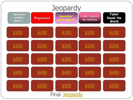 Jeopardy $100 Web and mobile i guess... Paparazzi Searchin' with style!!! Come back to the Kitchen Talkin' Round the World $200 $300 $400 $500 $400 $300.