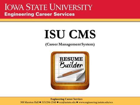 ISU CMS (Career Management System). Where can I find ISU CMS? Here!