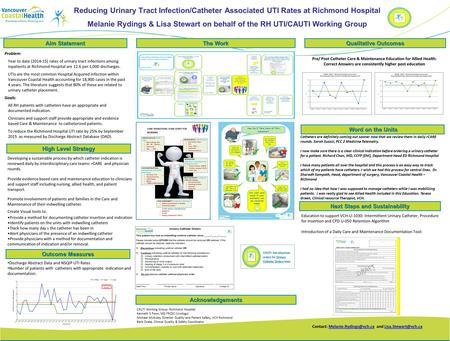 Reducing Urinary Tract Infection/Catheter Associated UTI Rates at Richmond Hospital Melanie Rydings & Lisa Stewart on behalf of the RH UTI/CAUTI Working.