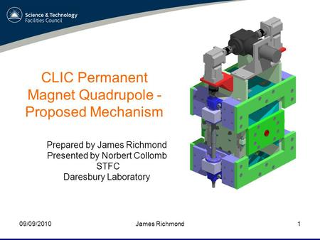 James Richmond09/09/20101 CLIC Permanent Magnet Quadrupole - Proposed Mechanism Prepared by James Richmond Presented by Norbert Collomb STFC Daresbury.