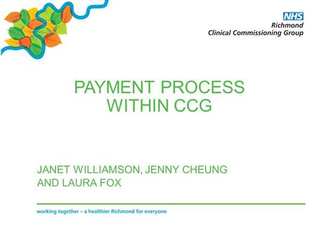 PAYMENT PROCESS WITHIN CCG JANET WILLIAMSON, JENNY CHEUNG AND LAURA FOX.