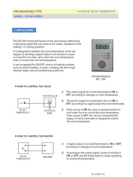 ① The output signal of a room thermostat is ON or OFF according to changes of room temperature ② The power supply to a motorized valve is ON or OFF according.