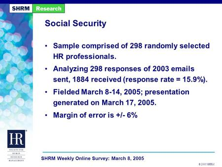 © 2005 SHRM SHRM Weekly Online Survey: March 8, 2005 Social Security Sample comprised of 298 randomly selected HR professionals. Analyzing 298 responses.