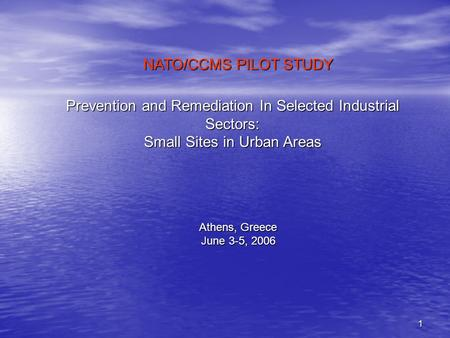 1 Prevention and Remediation In Selected Industrial Sectors: Small Sites in Urban Areas Athens, Greece June 3-5, 2006 NATO/CCMS PILOT STUDY.