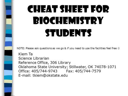 Cheat sheet for Biochemistry Students