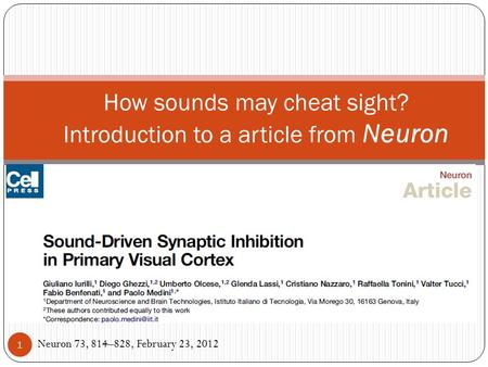 How sounds may cheat sight? Introduction to a article from Neuron Neuron 73, 814–828, February 23, 2012 1.