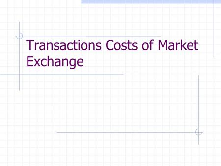 Transactions Costs of Market Exchange. Introduction Using the market is costly Imposes limits on the use of the market Transactions costs arise because.