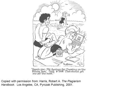 Copied with permission from: Harris, Robert A. The Plagiarism Handbook. Los Angeles, CA, Pyrczak Publishing, 2001.