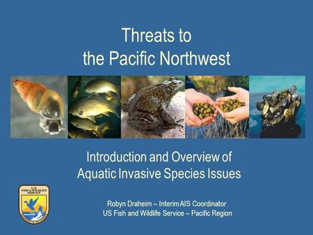 Threats to the Pacific Northwest Introduction and Overview of Aquatic Invasive Species Issues Robyn Draheim – Interim AIS Coordinator US Fish and Wildlife.