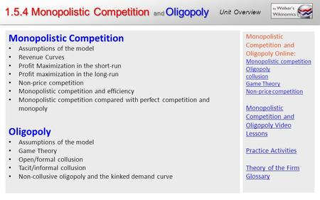 1.5.4 Monopolistic Competition and Oligopoly Unit Overview Monopolistic Competition Assumptions of the model Revenue Curves Profit Maximization in the.