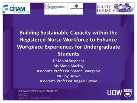 Building Sustainable Capacity within the Registered Nurse Workforce to Enhance Workplace Experiences for Undergraduate Students Dr Moira Stephens Ms Maria.