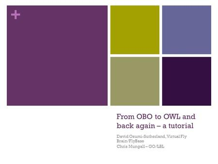+ From OBO to OWL and back again – a tutorial David Osumi-Sutherland, Virtual Fly Brain/FlyBase Chris Mungall – GO/LBL.