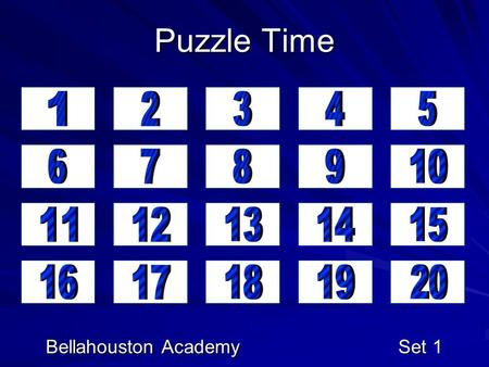 Puzzle Time Bellahouston Academy Set 1. Marathon Maths Jimmy's maths teacher asked him to multiply three times four three times. What is the correct answer?