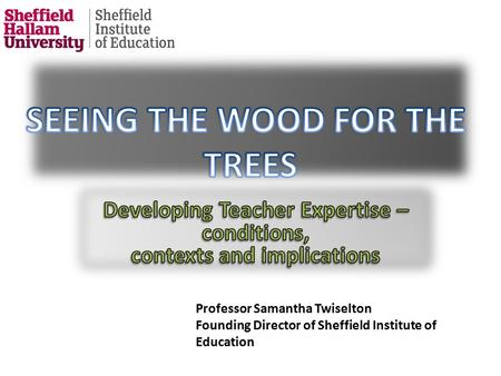Professor Samantha Twiselton Director of Sheffield Institute of Education Professor Samantha Twiselton Founding Director of Sheffield Institute of Education.
