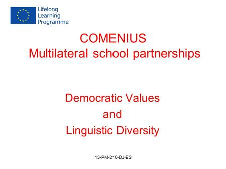 COMENIUS Multilateral school partnerships Democratic Values and Linguistic Diversity 13-PM-210-DJ-ES.