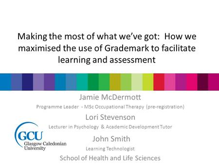 Making the most of what we've got: How we maximised the use of Grademark to facilitate learning and assessment Jamie McDermott Programme Leader - MSc Occupational.