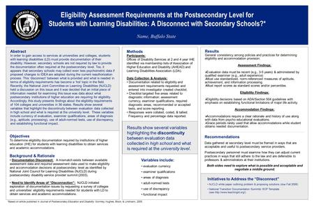 Eligibility Assessment Requirements at the Postsecondary Level for Students with Learning Disabilities: A Disconnect with Secondary Schools?* Name, Buffalo.