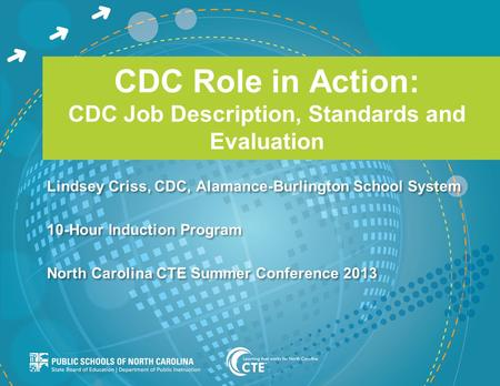 CDC Role in Action: CDC Job Description, Standards and Evaluation Lindsey Criss, CDC, Alamance-Burlington School System 10-Hour Induction Program North.