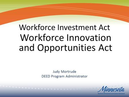 Judy Mortrude DEED Program Administrator Workforce Innovation and Opportunities Act.