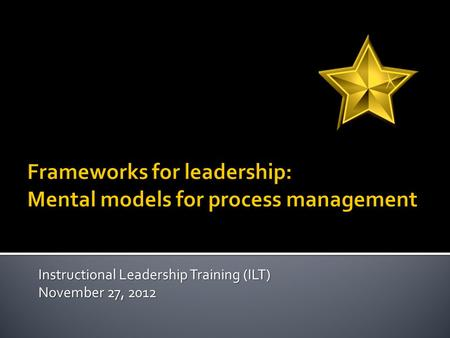 Instructional Leadership Training (ILT) November 27, 2012.