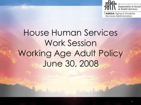 1 House Human Services Work Session Working Age Adult Policy June 30, 2008.
