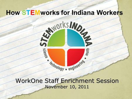 WorkOne Staff Enrichment Session November 10, 2011 How STEMworks for Indiana Workers.