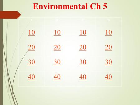 Environmental Ch 5 ABCD 10 20 30 40. Which of the following statements is not correct? a.Plants and other producers get their energy directly from the.