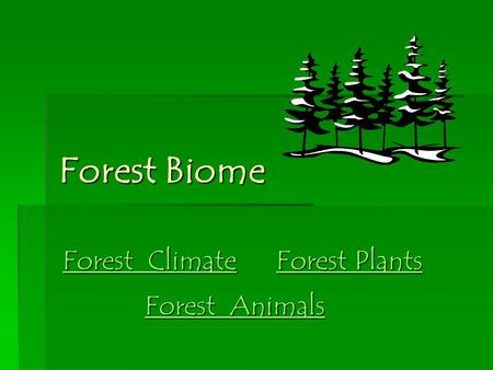 Forest Biome Forest Biome Forest Climate Forest Climate Forest Plants Forest Plants Forest Animals Forest Animals.