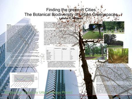Finding the green in Cities The Botanical Biodiversity of Urban Greenspaces Latisha T. Williams Abstract: Cities represent the most extreme form of human.