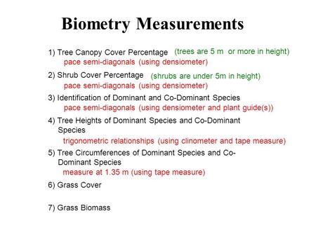 1) Tree Canopy Cover Percentage 2) Shrub Cover Percentage 3) Identification of Dominant and Co-Dominant Species 4) Tree Heights of Dominant Species and.