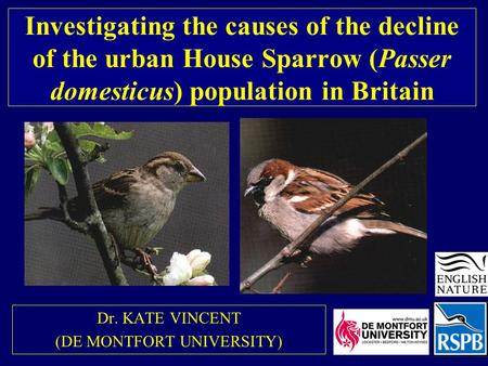 Investigating the causes of the decline of the urban House Sparrow (Passer domesticus) population in Britain Dr. KATE VINCENT (DE MONTFORT UNIVERSITY)