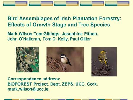 Mark Wilson,Tom Gittings, Josephine Pithon, John O'Halloran, Tom C. Kelly, Paul Giller Bird Assemblages of Irish Plantation Forestry: Effects of Growth.