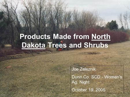 Products Made from North Dakota Trees and Shrubs Joe Zeleznik Dunn Co. SCD - Women's Ag. Night October 19, 2005.
