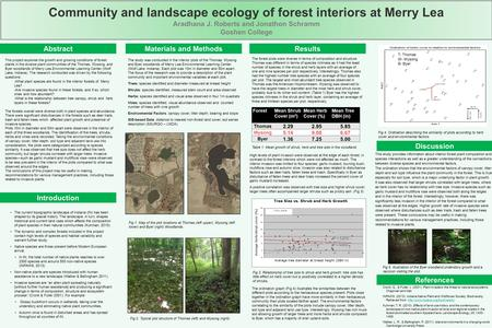 Community and landscape ecology of forest interiors at Merry Lea Aradhana J. Roberts and Jonathon Schramm Goshen College Abstract Introduction Materials.