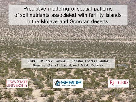 Predictive modeling of spatial patterns of soil nutrients associated with fertility islands in the Mojave and Sonoran deserts. Erika L. Mudrak, Jennifer.