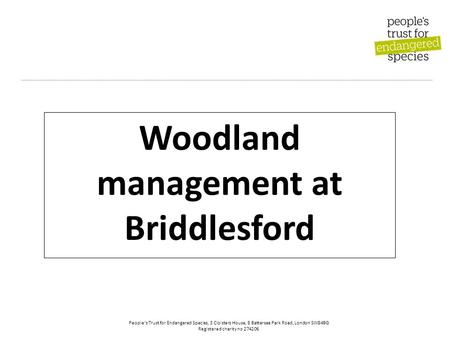 People's Trust for Endangered Species, 3 Cloisters House, 8 Battersea Park Road, London SW84BG Registered charity no 274206 Woodland management at Briddlesford.